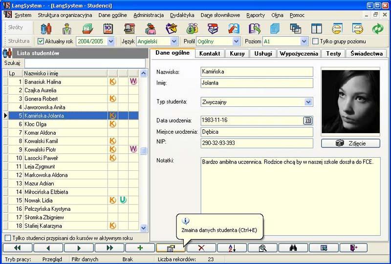 Langsystem - moduł uczeń