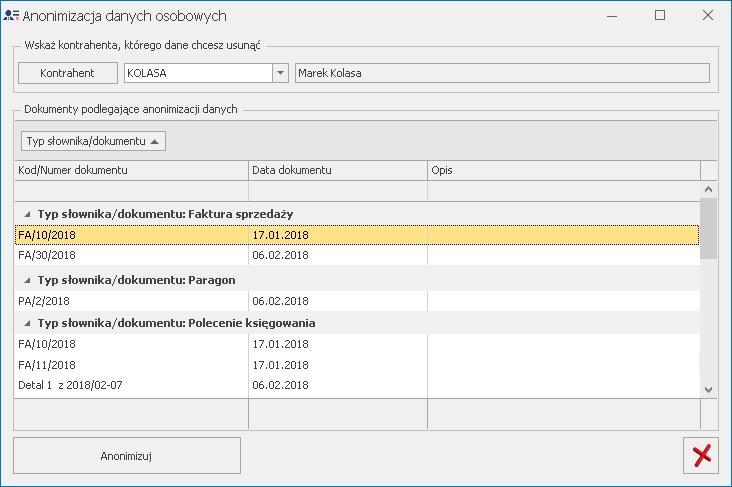 Anonimizacja danych w systemie do RODO